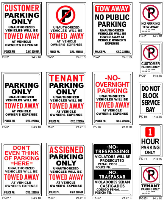 illegally parked vehicles ventura signs