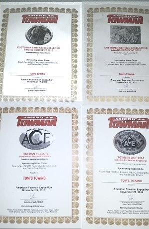 Tom's Towing Ventura has earned the highest awards for customer satisfaction.